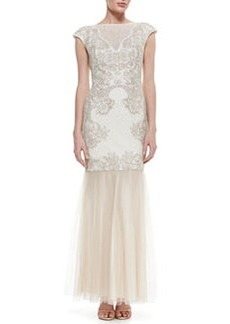 Tadashi Shoji Cap Sleeve Embroidered Lace Bodice Gown, Latte