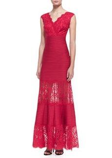 Tadashi Shoji Cap Sleeve Lace Bodice Gown, French Rose