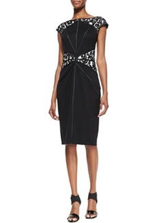 Tadashi Shoji Cap-Sleeve Lace-Inset Cocktail Dress, Black/Ivory