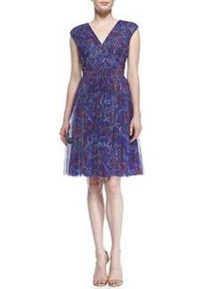 Tadashi Shoji Cap-Sleeve Printed Cocktail Dress