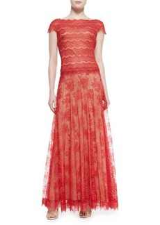 Tadashi Shoji Cap-Sleeve Scalloped Metallic Lace Overlay Gown