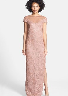 Tadashi Shoji Cap Sleeve Sequin Lace Embroidered Gown