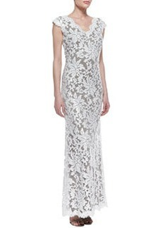 Tadashi Shoji Cap-Sleeve Sequined Lace Overlay Gown, Dove Gray