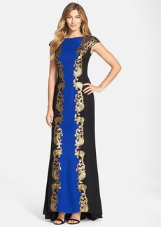 Tadashi Shoji Colorblock Crepe Gown