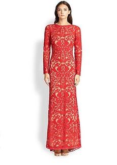 Tadashi Shoji Cord-Embroidered Lace Gown