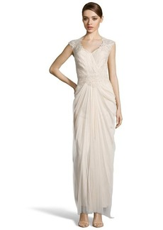 Tadashi Shoji cream hand-beaded lace and ruched tulle v-neck evening gown
