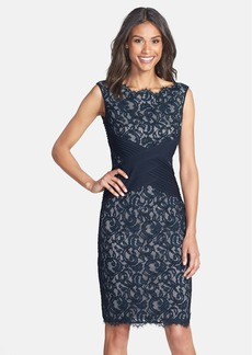 Tadashi Shoji Crisscross Waist Lace Sheath Dress (Regular & Petite)