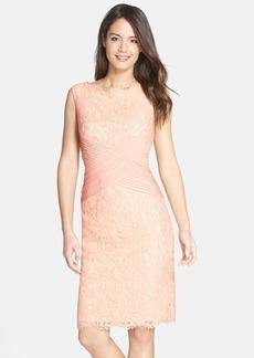 Tadashi Shoji Crisscross Waist Lace Sheath Dress (Regular & Petite)