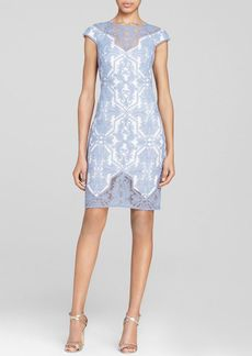 Tadashi Shoji Dress - Cap Sleeve Illusion Neck Lace Sheath