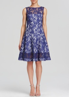 Tadashi Shoji Dress - Sleeveless Illusion Neck Lace Fit and Flare