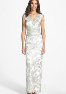 Tadashi Shoji Embellished Lace Column Gown