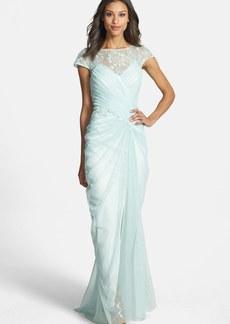 Tadashi Shoji Embellished Lace Ruched Mesh Gown