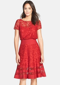 Tadashi Shoji Embroidered Lace & Pintuck Blouson Dress (Regular & Petite)