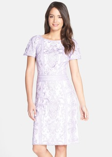 Tadashi Shoji Embroidered Short Sleeve Sheath Dress