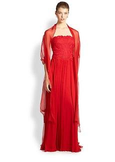 Tadashi Shoji Embroidered Tulle & Silk Gown