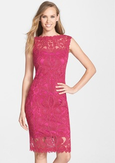 Tadashi Shoji Embroidered Tulle Illusion Sheath Dress