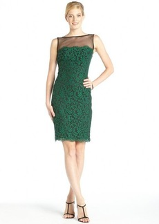 Tadashi Shoji emerald lace and sheer panel sleeveless dress