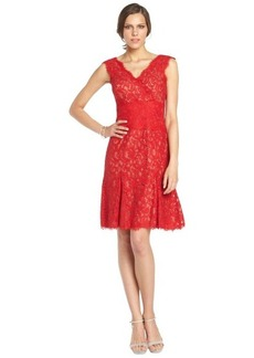 Tadashi Shoji flame and nude lace v-neck short sleeve flared dress