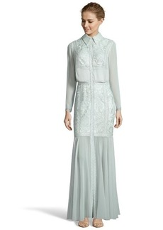 Tadashi Shoji frosted jade chiffon long sleeve lace embroidered evening gown