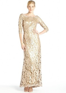 Tadashi Shoji gold sequined lace long sleeve gown