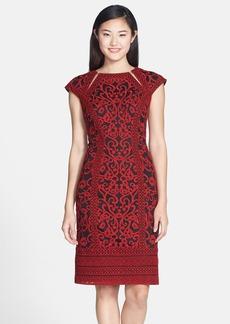 Tadashi Shoji Illusion Cutout Embroidered Sheath Dress