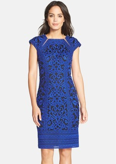 Tadashi Shoji Illusion Cutout Embroidered Sheath Dress