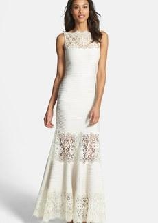 Tadashi Shoji Illusion Lace Pintuck Jersey Gown
