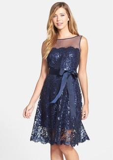 Tadashi Shoji Illusion Yoke Embellished Lace A-Line Dress