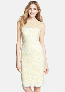 Tadashi Shoji Illusion Yoke Embroidered Lace Sheath Dress