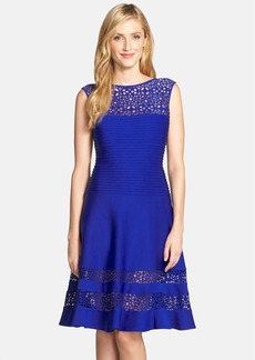 Tadashi Shoji Illusion Yoke Neoprene Fit & Flare Dress