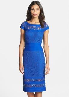 Tadashi Shoji Jersey Trim Lace Sheath Dress