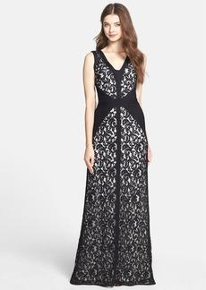 Tadashi Shoji Lace & Jersey Gown (Regular & Petite)