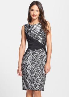 Tadashi Shoji Lace & Silk Chiffon Sheath Dress