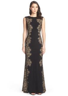 Tadashi Shoji Lace Appliqué Jersey Gown