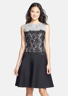 Tadashi Shoji Lace Bodice Neoprene Fit & Flare Dress