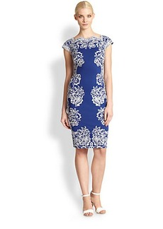 Tadashi Shoji Lace-Embroidered Perforated Jersey Dress