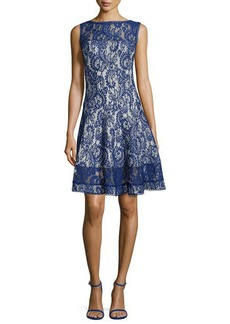 Tadashi Shoji Lace Fit-and-Flare Cocktail Dress, Deep Lagoon