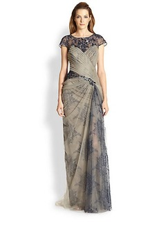 Tadashi Shoji Lace Illusion Gown