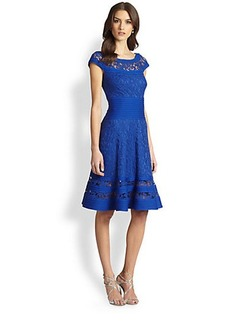 Tadashi Shoji Lace-Inset Cap-Sleeve Pintucked Dress