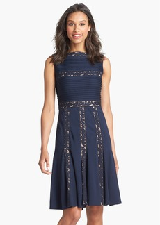 Tadashi Shoji Lace Inset Jersey Fit & Flare Dress (Regular & Petite)