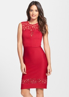 Tadashi Shoji Lace Inset Pintuck Pleat Sheath Dress