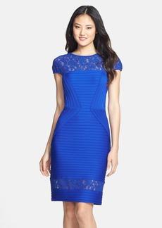 Tadashi Shoji Lace Inset Pintuck Sheath Dress (Regular & Petite)