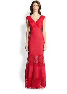 Tadashi Shoji Lace-Inset Pintucked Gown