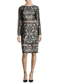 Tadashi Shoji Lace Long-Sleeve Dress, Black/Ivory