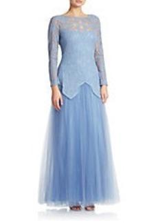 TADASHI SHOJI Lace-Overlay Tulle Gown