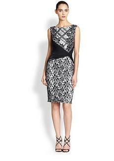 Tadashi Shoji Lace, Plaid & Sheer Waist Combo Knit Dress