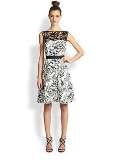 Tadashi Shoji Lace-Trimmed Toile Cocktail Dress