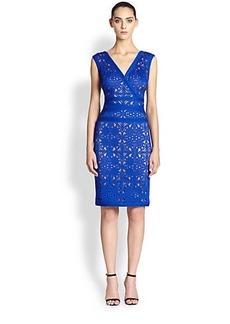 Tadashi Shoji Laser-Cut Lace Neoprene Knit Dress