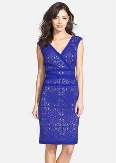 Tadashi Shoji Laser Cut Stretch Sheath Dress (Regular & Petite)
