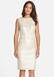 Tadashi Shoji Laser Cut Leatherette Sleeveless Sheath Dress